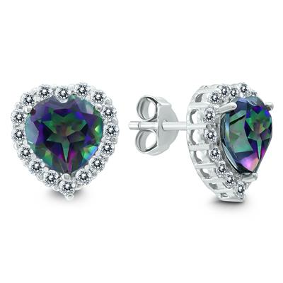 Heart Shaped Mystic Topaz and White Topaz Earrings in .925 Sterling Silver
