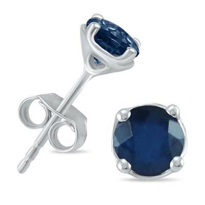 5MM All Natural Round Sapphire Stud Earrings in .925 Sterling Silver