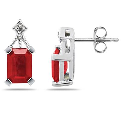 Emerald Cut Ruby  & Diamond Earrings in 14K White Gold