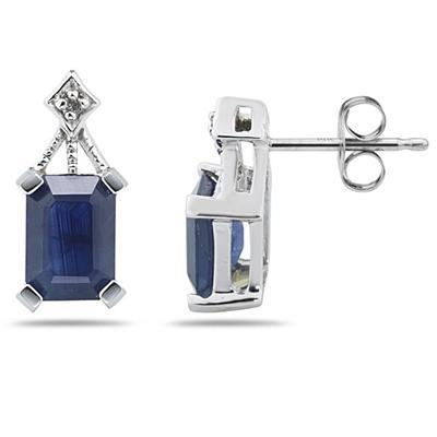Emerald Cut Sapphire & Diamond Earrings in 14K White Gold