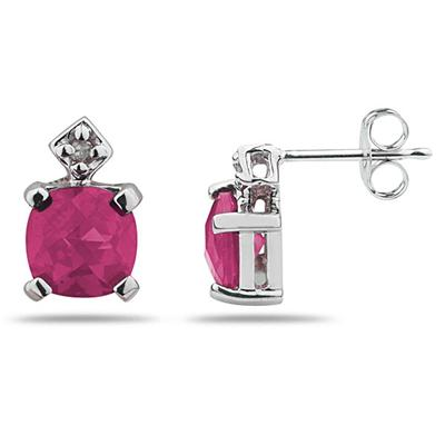 1.20CTW Pink Topaz  & Diamond Earrings in White Gold