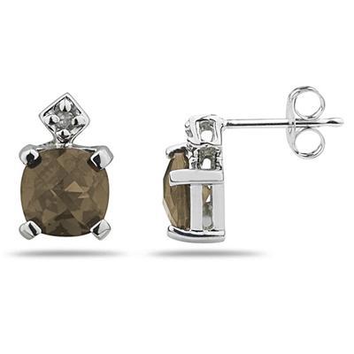 1.20 Carat TW Smokey Quartz & Diamond Earrings in 10k White Gold
