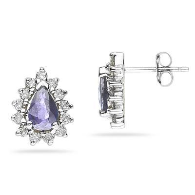 Pear Shape Tanzanite & Diamond Flower Earring