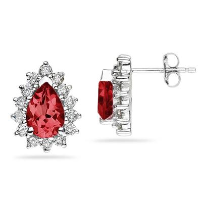 7X5mm Pear Shaped Ruby and Diamond Flower Earrings in 14k White Gold
