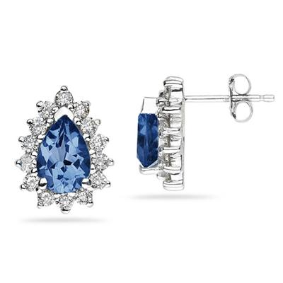 7X5mm Pear Shaped Sapphire and Diamond Flower Earrings in 14k White Gold