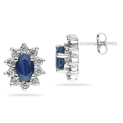 6X4mm Oval Shaped Sapphire and Diamond Flower Earrings in 14k White Gold