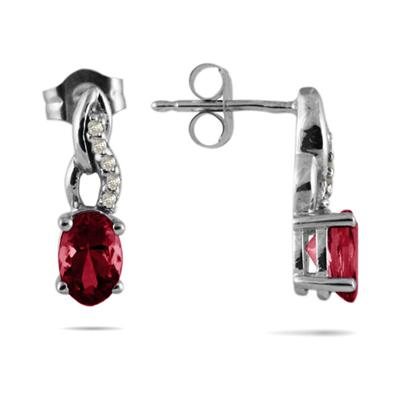 Ruby and Diamond Earrings in 10k White Gold