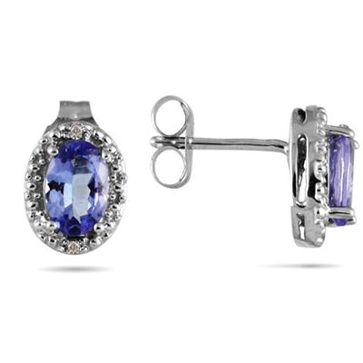 Tanzanite and Diamond Oval Flower Earrings