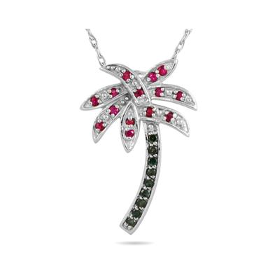 Blue Diamond and Ruby Palm Tree Pendant in 10K White Gold