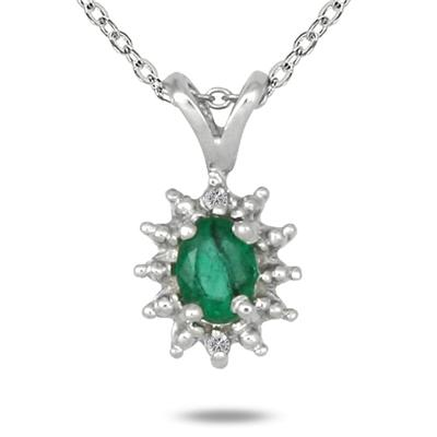 Oval Shaped Emerald and Diamond Flower Pendant in .925 Sterling Silver