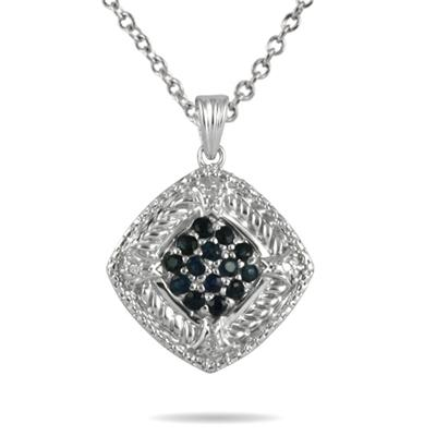 Sapphire and Diamond Cluster Pendant in Sterling Silver