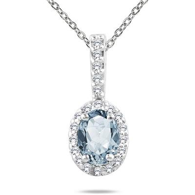Aquamarine and Diamond Pendant in 10K White Gold