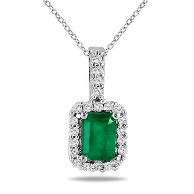 1/10 Carat Diamond and Emerald Pendant in 10K White Gold