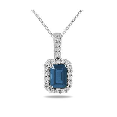 1/10 Carat Diamond and Sapphire Pendant in 10K White Gold