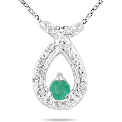 Emerald and Diamond Pendant in 10K White Gold