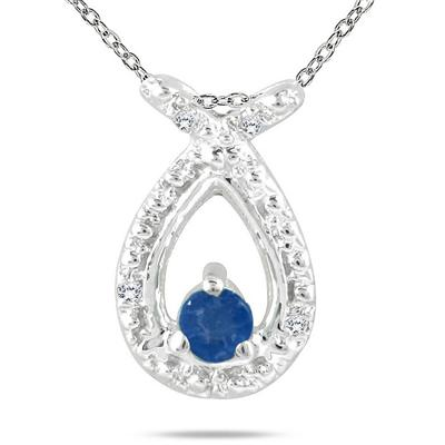 Sapphire and Diamond Pendant in 10K White Gold