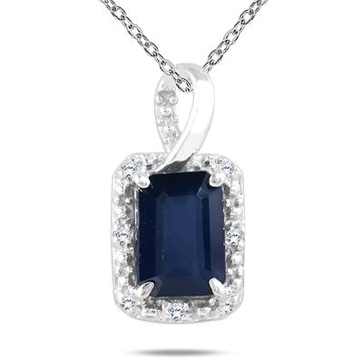 Sapphire and Diamond Pendant in 10K White Gold