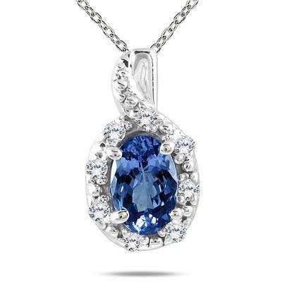 10K White Gold Sapphire and Diamond Pendant