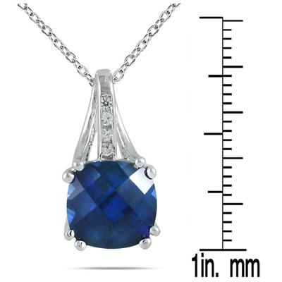 3 Carat Cushion Cut Sapphire and White Sapphire Pendant in .925 Sterling Silver