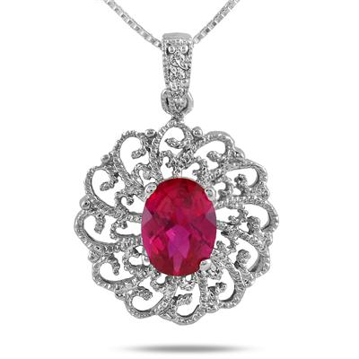 8x6MM Created Oval Ruby and Diamond Antique Filigree Pendant in .925 Sterling Silver