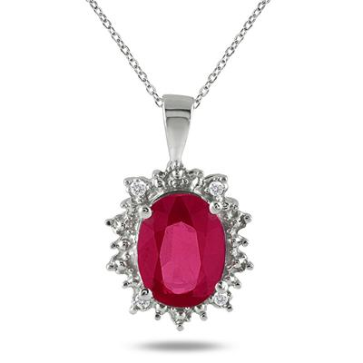 3.00 Carat All Natural Genuine Ruby and Diamond Pendant in .925 Sterling Silver