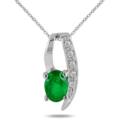 0.85 Carat All Natural Emerald and Diamond Loop Pendant in .925 Sterling Silver