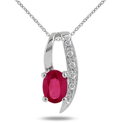 1 Carat Ruby and Diamond Pendant in .925 Sterling Silver