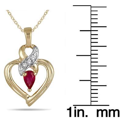 Ruby and Diamond Ribbon Heart Pendant 10k Yellow Gold