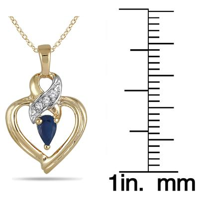 Pear Shaped Sapphire and Diamond Ribbon Heart Pendant in 10k Yellow Gold
