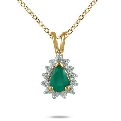 Emerald and Diamond Tear Drop Pendant
