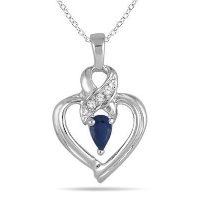 Sapphire and Diamond Heart Pendant in 10K White Gold
