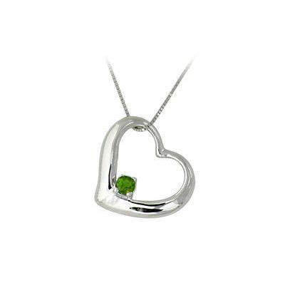 Emerald Heart Pendant 14k White Gold