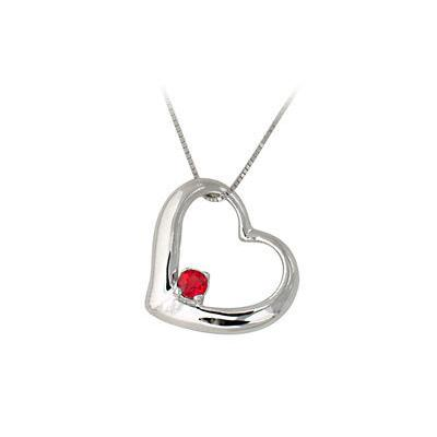 Ruby Heart Pendant 14k White Gold