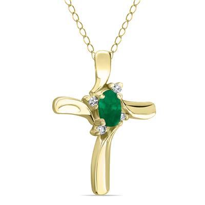 Emerald Cross Diamond Pendant 10K Yellow Gold