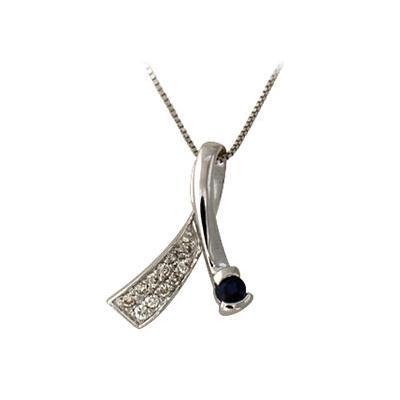 Sapphire and Diamond Pendant Necklace 14K White Gold