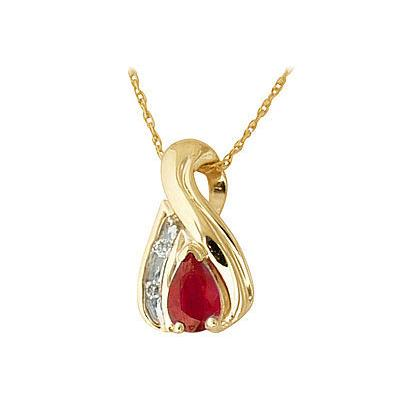 Ruby and Diamond Twist Pendant 14kt Yellow Gold