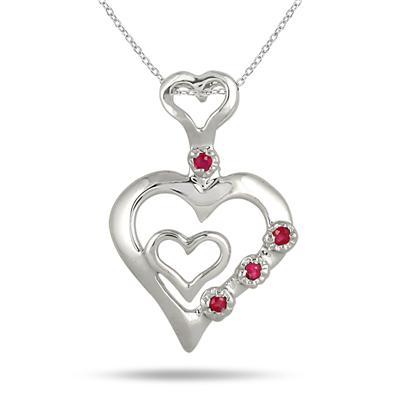 1/4 Carat Ruby Double Heart Pendant in .925 Sterling Silver