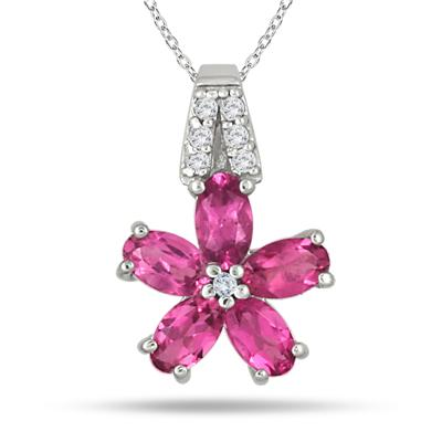 Pink Sapphire and Diamond Flower Pendant in .925 Sterling Silver
