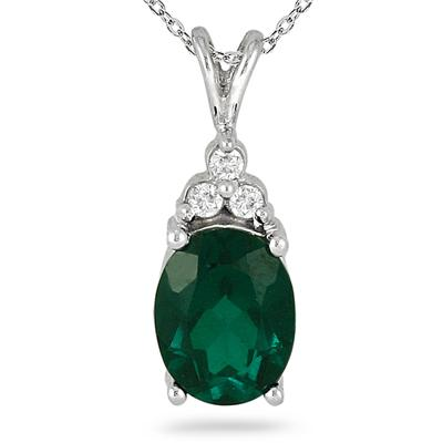 Created Emerald and Diamond Pendant in .925 Sterling Silver