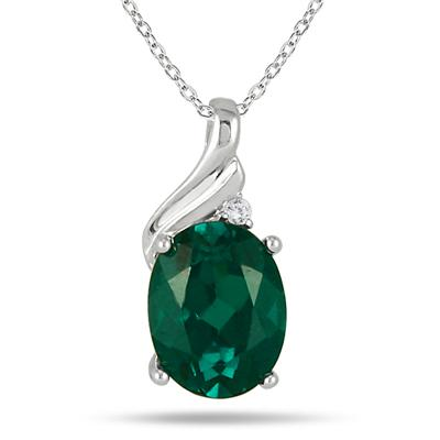 2.50 Carat Created Emerald and Diamond Pendant in .925 Sterling Silver