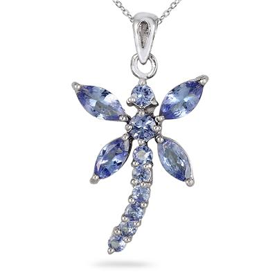 2.20 Carat Tanzanite Dragonfly Pendant in .925 Sterling Silver