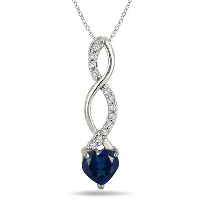 1 Carat Created Sapphire and Diamond Heart Twist Pendant in .925 Sterling Silver
