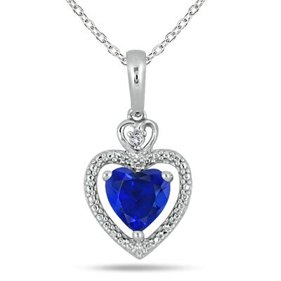 1.35 Carat Heart Shape Created Sapphire and White Topaz Pendant in .925 Sterling Silver