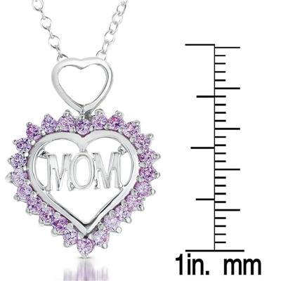 Created Pink Sapphire MOM Heart Pendant in .925 Sterling Silver