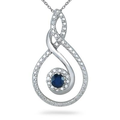 1/4 Carat Genuine Sapphire and Diamond Pendant in .925 Sterling Silver