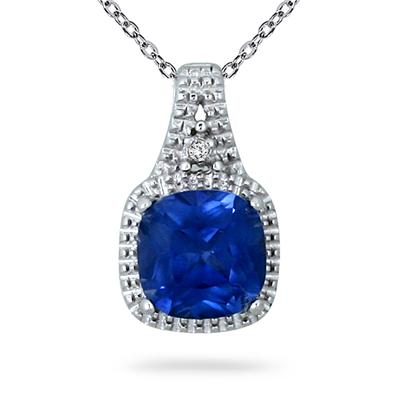 7MM Created Sapphire and Diamond Pendant in .925 Sterling Silver