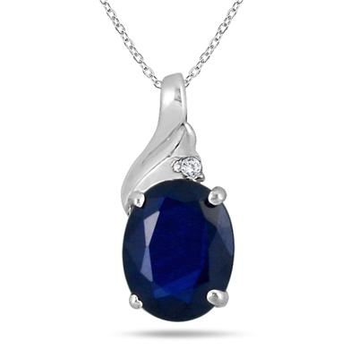 2.25 Carat Oval Sapphire and Diamond Pendant in .925 Sterling Silver
