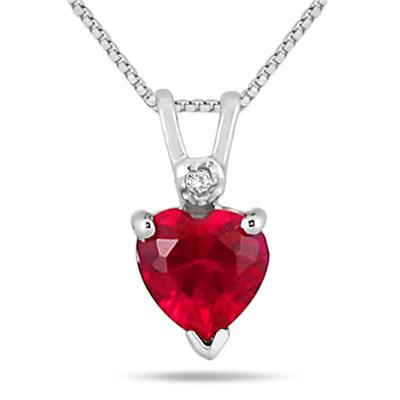 6MM Heart Shape Lab Created Ruby and Genuine Diamond Pendant in .925 Sterling Silver
