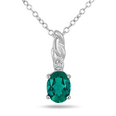 8x6MM Created Oval Emerald and Genuine Diamond Pendant in .925 Sterling Silver