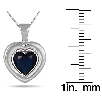 2.80CT Created Sapphire and Genuine Diamond Pendant in .925 Sterling Silver